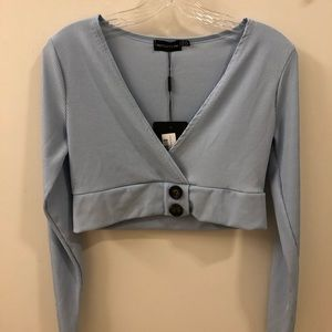 Baby Blue Rib Plunge Button Detail Long Sleeve
